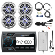 "Soundstream 2"" Marine USB Bluetooth Digital Media Receiver, 4x Millenia 6.5"" Speakers, Enrock 4-Channel Amplifier, AMP Installation Kit, AM/FM Black Antenna, USB AUX Interface Mount"