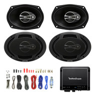 "4x Alpine SPJ-691C3 6 x 9"" Inch Coaxial 400 Watt 3-Way Speaker, Rockford Fosgate R500X1D 500W RMS Prime Series Class D Amplifier, Enrock Audio 8 Gauge Complete Amplifier Wiring Installation Kit"