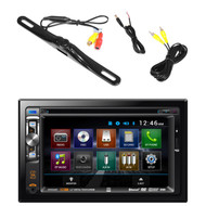 "Dual AV Double Din 6.2"" Touch Screen DVD Bluetooth USB Receiver, PLCM18BC Pyle License Plate Mount Rear View Backup Color Camera With Distance Scale Line (Zinc Black Chrome)"