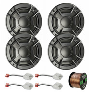 "4X Polk Audio DB6502 6.5"" 300W 2 Way Car/Marine ATV Stereo Component Speakers, 4X Metra 72-6514 Speaker Harness for Select Chrysler/Dodge Vehicles, Enrock Audio 16-Gauge 50 Foot Speaker Wire"