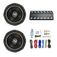 "Audiopipe 1800W Class D Amplifier, 2X Audiopipe 15"" Triple Stack Subwoofer, Enrock Audio 18 AWG Gauge 50 Feet Speaker Wire Cable"