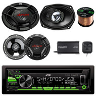 "JVC KD-R680S Single DIN In-Dash CD/AM/FM/ Receiver, SiriusXM Satellite Tuner Kit, 2x JVC 300-Watt Peak 6.5"" 2-Way Speakers, 2x JVC 500-Watt Peak 6x9"" 3-Way Speakers,Enrock 16-Gauge 50 Foot Wire"