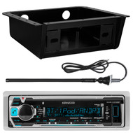 Kenwood Marine Digital Media Receiver w/ Bluetooth, Metra 99-9000 Universal Fully Encloses Under Dash Installation Kit, EnrockMarine 20B Rubber Boat Yacht Outdoor AM/FM Radio Antenna (Black)