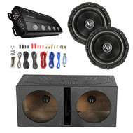 """Audiopipe Class D Monoblock Amplifier, 2X Audiopipe 12"""" Triple Stack Subwoofer, Enrock Audio 18 AWG Gauge 50 Feet Speaker Wire Cable, QPOWER 12"""" Rhino Lined Dual Vented Subwoofer Box Enclosure"""