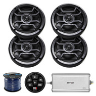 "4X Hifonics 6.5"" Inch Marine 120-Watt 2-Way Speakers w/ Grills (Black), Enrock Marine 4-Channel Amplifier, MB Quart N1-WBT Waterproof Wired Bluetooth Preamp Controller, 50 Foot 16-Gauge Speaker Wire"