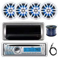 "DS18 HYDRO CD/USB/Bluetooth/AM/FM/AUX Single Din In-Dash Car Radio Receiver, Jensen Water Resistant Silver Cover, 4x White 6.5"" Speakers, Enrock 50 Foot 16-Gauge Speaker Wire, Antenna 40"""