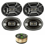 4X Polk 6x9 Inch 450W 3-Way Car/ Boat Coaxial Stereo Audio Speakers Marine DB692, Enrock Audio 14 AWG Gauge 50 Feet Speaker Wire Cable