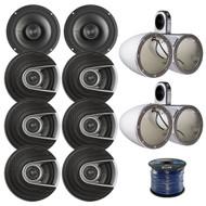 "8x Polk Audio MM Series Ultra Marine Certified 6.5"" 2 Way Coaxial Car / Boat Speakers, 4x Kicker Marine KMTESW Tower Enclosure White, Enrock 50 Foot 16-Gauge Speaker Wire"