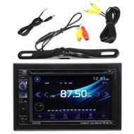 "Dual AV DV637MB Double Din 6.2"" Touch Screen DVD Bluetooth USB Receiver, PLCM18BC Pyle License Plate Mount Rear View Backup Color Camera With Distance Scale Line (Zinc Black Chrome)"