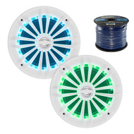 2X EnrockMarine 6.5-Inch White 2 Way, 200 Watt, Marine, Loudspeaker Featuring Multi Color Illumination Options and Remote Control, Enrock Audio Marine Grade Spool of 50 Foot 16-Gauge Speaker Wire
