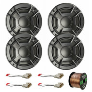 "4X Polk Audio DB6502 6.5"" 300W 2 Way Car/Marine ATV Stereo Component Speakers, 4X Metra 72-8104 Speaker Connector for Select Toyota Vehicles, Enrock Audio 16-Gauge 50 Foot Speaker Wire"