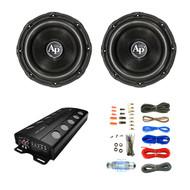 "Audiopipe Class D Monoblock Amplifier, 2X Audiopipe 12"" Triple Stack Subwoofer, Enrock Audio 18 AWG Gauge 50 Feet Speaker Wire Cable"