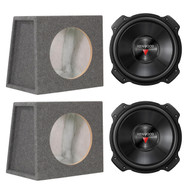 "2x Kenwood KFC-W3016PS 2000W 12"" Performance Series Single 4 ohm Subwoofer, and 2X Scosche SE12RCC Single 12"" Subwoofer Enclosure"