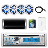 "DS18 HYDRO CD/USB/Bluetooth/AM/FM/AUX Single Din In-Dash Car Radio Receiver, Jensen Water Resistant Silver Cover, 4x White 6.5"" Speakers, 4 Channel Amplifier, 8-Gauge AMP Install Kit, Antenna 40"""