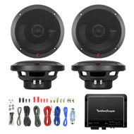 2x Rockford P1650 6.5-Inch 110 Watt 2-Way Full Range Speaker, Rockford Fosgate Prime R500X1D 500W RMS Prime Series Class D Amplifier, Enrock Audio 8 Gauge Complete Amplifier Wiring Installation Kit