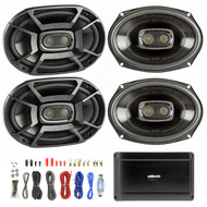 4X Polk 6x9 Inch 450W 3-Way Car/ Boat Coaxial Stereo Audio Speakers Marine DB692, Polk Audio PA660 Digital Power Amplifier - 4 Channel, Enrock Audio 8-Gauge Amp Install Wiring Kit