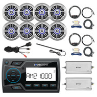 "Soundstream 2"" Marine USB Bluetooth Digital Media Receiver, 8x Millenia 6.5"" Speakers, 2x Enrock 4-Channel Amplifier, 2x AMP Installation Kit, 2x AM/FM Black Antenna, USB AUX Interface Mount"