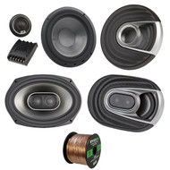 "2x Polk Audio MM MM692 Series Ultra Marine Certified 6x9"" 3 Way Car / Boat Speakers, 2x MM6502 375W Marine 6.5"" Component Speaker System, Enrock Audio 16-Gauge 50 Foot Speaker Wire"