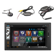 "Dual AV Double Din 6.2"" Touch Screen DVD Bluetooth USB Receiver, DUAL XCAM500 Universal Waterproof Wireless Backup Camera"