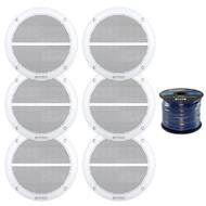 """6 x Enrock Marine EM602W Dual 6.5"""" Inch Weather Resistant Full Range Speakers 250 Watts Peak, Enrock Audio Marine Grade Spool of 50 Foot 16-Gauge Speaker Wire"""