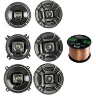 "2x Polk Audio DB522 5.25-Inch 300-Watt 2-Way Speakers, 2x 6.5"" 300W 2 Way Car/Marine Speakers, 2x DB402 4-inch 135W Coaxial Speakers Black, Enrock 16-Gauge 50 Foot Speaker Wire"