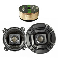 2X Polk Audio DB402 4-inch 135W Coaxial Speakers Black, Enrock Audio 14 AWG Gauge 50 Feet Speaker Wire Cable