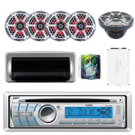 "DS18 HYDRO MC18BT Single Din In-Dash CD/USB/Bluetooth/AM/FM/AUX Receiver, 4X CF65 Black Marine 6.5"" 2-Way Speakers w/ LED Lights, HYDRO-1100.4 4 Channels Amplifier, WAVESKIT8 8-Gauge Install Kit"