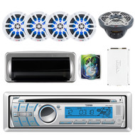 "DS18 HYDRO MC18BT Single Din In-Dash CD/USB/Bluetooth/AM/FM/AUX Receiver, 4X NXL8 White 8"" 2-Way Speakers w/ LED Lights, HYDRO-1100.4 4 Channels Amplifier, WAVESKIT8 8-Gauge Install Kit"
