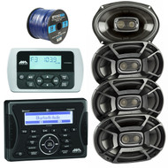 Jensen Marine Audio MA400 Bluetooth USB iPod/iPhone Stereo Receiver, Wired Remote Control, 4X Polk 6x9 Inch 450W 3-Way Car/ Boat Coaxial Speakers Marine DB692, Enrock 50 Foot 16-Gauge Speaker Wire