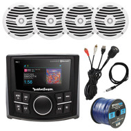 "Rockford Fosgate Bluetooth Marine Waterproof MP3 Receiver, 4x 6.5"" Boat Full Range White Speakers, 4-Channel White 400 Watt Amplifier, AMP Install Kit, Antenna - 40"", Universal USB AUX Interface Mount"