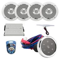 """Audiopipe Marine Bluetooth Audio Receiver, 4x 6.5"""" 2-Way White 200 Watt Speakers, 4 Channel Amplifier, Amp Wiring Kit, Am/Fm Amp Antenna"""
