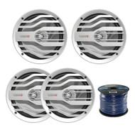 "4X MB Quart NK2-116W 6.5"" 120W 2-Way Coaxial Marine & Power Sports Speakers, Enrock Audio Marine Grade Spool of 50 Foot 16-Gauge Speaker Wire"