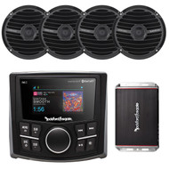 Rockford Fosgate PMX-2 Bluetooth Waterproof MP3 Digital Media Receiver, Rockford Fosgate RM1652B Prime M0 6.5 Inch Marine Coax Speaker Black Pair, Rockford Fosgate PBR300X4 Punch BRT 300-Watt Ultra Compact 4-Channel Car Amplifier