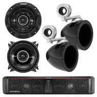 "HIFONICS TPS6 THOR 6-Speaker Bluetooth Powersports Amplified Soundbar, Kicker 40KMMTES 4"" Mini Tower Enclosure, Kicker 41DSC44 4"" Inch 2-Way Black Car Audio Stereo Coaxial Speaker"