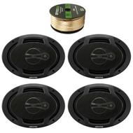 """Alpine SPJ-691C3 6 x 9"""" Inch Coaxial 400 Watt 3-Way Speaker (pair), Enrock 14 AWG Gauge 50 Feet Speaker Wire"""