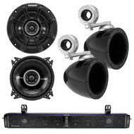 "HIFONICS TPS10 THOR 10-Speaker Bluetooth Powersports Amplified Soundbar, Kicker 40KMMTES 4"" Mini Tower Enclosure, Kicker 41DSC44 4"" Inch 2-Way Black Car Audio Stereo Coaxial Speaker"