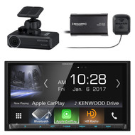 Kenwood DMX7704S 2-DIN Digital Media Receiver with Bluetooth & HD Radio, Kenwood DRV-N520 Drive Recorder Dash cam for use with select Kenwood video receivers, SiriusXM SXV300v1 Satellite Radio Connect Vehicle Tuner Kit for Satellite Radio