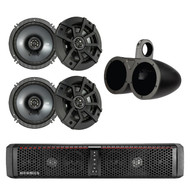 "HIFONICS TPS6 THOR 6-Speaker Bluetooth Powersports Amplified Soundbar, Kicker 43CSC654 600-Watt 6-1/2"" Inch CS Series 2-Way Black Car Coaxial Speakers, Kicker 12KMTED 6.5"" Dual Black Empty Tower Enclosures"