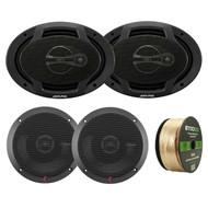 """Alpine SPJ-691C3 6 x 9"""" Inch Coaxial 400 Watt 3-Way Speaker (pair), Rockford P1650 6.5-Inch 110 Watt 2-Way Full Range Euro Fit Compatible Speaker, Enrock 14 AWG Gauge 50 Feet Speaker Wire"""