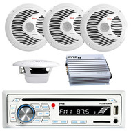 Pyle PLCDBT65MRW Bluetooth Marine Stereo Radio Receiver & Waterproof (2) 6.5'' Speaker Kit, CD Player, Pyle PLMR60W 150 Watts 6.5'' 2 Way White Marine Speakers, PLMRA400 Pyle 4 Channel 400 Watt Waterproof Marine White Amplifier