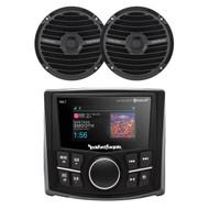 Rockford Fosgate PMX-2 Bluetooth Waterproof MP3 Digital Media Receiver, Rockford Fosgate RM1652B Prime M0 6.5 Inch Marine Coax Speaker Black Pair