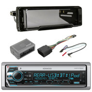 Harley Kit: Kenwood Marine CD Receiver with Built in Bluetooth, Metra 99-9800 Radio Cover Kit For Harley Davidson Touring Motorcycle 1998-2013, Scosche HDSWC1 Handlebar Control Interface Module