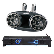 "Audio Package: Bazooka 24"" Double Sided Bluetooth Party Bar with LED Illumination System, 4X Kicker 6.75"" 300 Watts Peak 150 Watts RMS Marine Boat Wakeboard Tower Speakers with Dual Mounting Option"