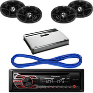 JVC CS-J6930 6 x 9 Inches 400W Max 3-Way Coaxial Speakers, Set of 2, Pioneer DEH150MP CD MP3 Playback AM/FM Radio Single Din Car Receiver with Remote, 14 Gauge 50 Foot Speaker Wire, Mbquart Nautic 4Ch 360W Amplifier