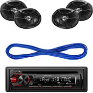 KDC-158U - Kenwood Single DIN In-Dash CD/MP3 Stereo Receiver with USB Interface, JVC CS-J6930 6 x 9 Inches 400W Max 3-Way Coaxial Speakers, Set of 2, 14 Gauge 50 Foot Speaker Wire