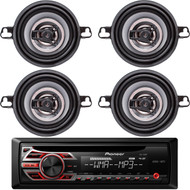 "Pioneer CD Radio Receiver AUX Input Wireless Remote LCD Display with LED Backlight 50Watts x 4 Channel output Detachable Face Plate , 2 Pairs Crunch CS Series 3.5"" 2-Way Coaxial Car Speakers 150 Watts per pair 4Ohms"
