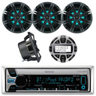 """Kenwood KMR-D768BT Marine Boat Yacht Outdoor CD MP3 USB AUX Bluetooth AM/FM Radio Receiver, Kenwood KCA-RC55MR Wired Remote, Kicker 41KM84LCW 8"""" KM Series Coaxial Marine Speakers w/ LED Lights"""
