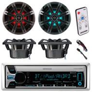 "Kenwood KMR-D768BT Marine Boat Yacht Outdoor CD MP3 USB AUX Bluetooth AM/FM Radio Receiver, Kicker 41KM84LCW 8"" KM Series Coaxial Marine Speakers w/ LED Lights, Kicker 41KMLC LED Remote Controller"