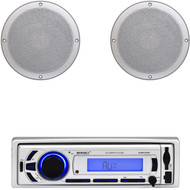 "6.5"" Marine 120W White Speakers, EKMR256BT Bluetooth USB AUX AM FM Marine Radio"