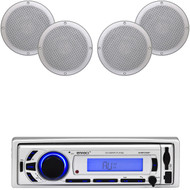 "4 Marine 6.5"" 120W White Speakers, Enrock Bluetooth USB AUX AM FM Marine Radio"